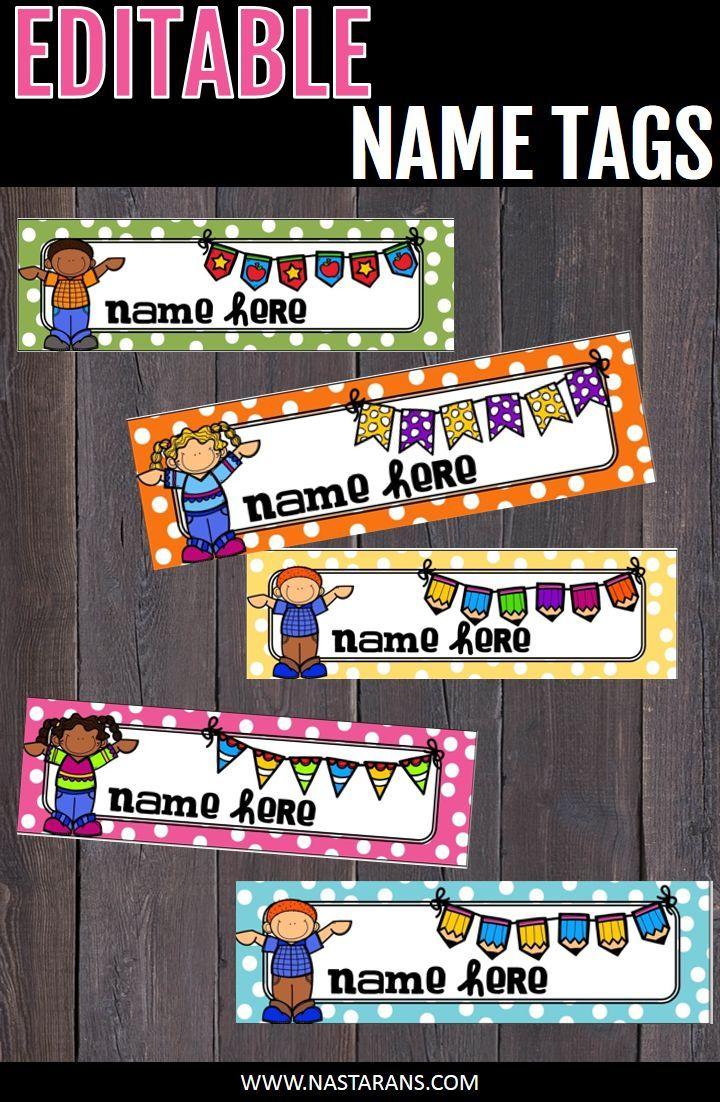 EDITABLE NAME TAGS -editable desk name tags-editable desk name plates. Editable polka dot labels