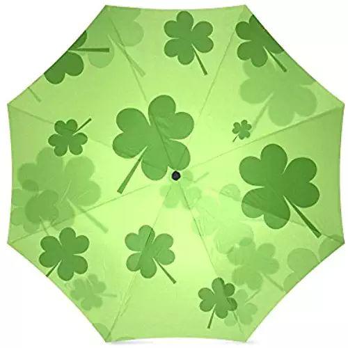 Umbrella - St.Patrick's Day Gift Irish Shamrock Pattern Compact Foldable Rainproof Windproof Travel Umbrella