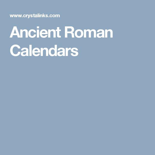 Ancient Roman Calendars