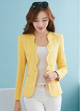 Scallop Solid Color Blazer Gender: Women Item Type: Blazers Decoration: None Clothing Length: Regular Pattern Type: Solid Closure Type: Single Button Fabric Type: Broadcloth Material: Polyester, Spand