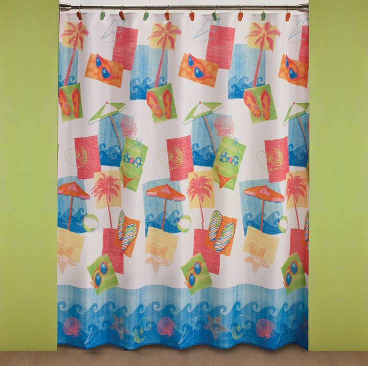 Miami Beach Shower Curtain Miami Beach shower curtain is a printed polyester shower curtain. It features all the things you need for a relaxing day at the beach. Your bathroom will pop with the vibrant colors of flip flops, umbrellas, sea shells, palm trees, beach balls, waves, and bikinis. #SKL #saturdayknightlimited #beachbathroom #beachdecor #beachshowercurtain #vacationdecor #vacationbathroom