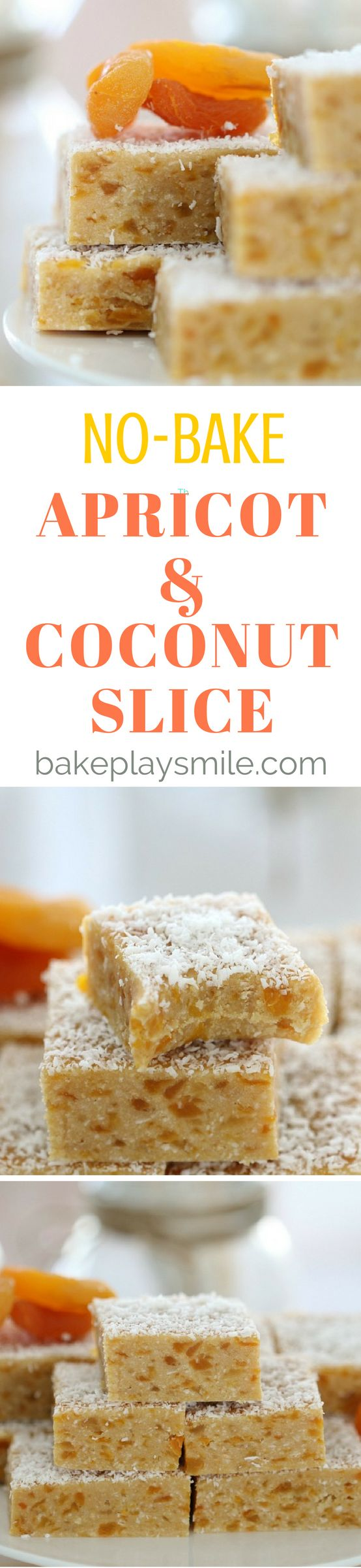 Want an Apricot Coconut Slice that is completely no-bake, takes just 5 minutes to prepare and is absolutely delicious? This is THE recipe for you! #apricot #coconut #slice #bars #easy #nobake #conventional #thermomix