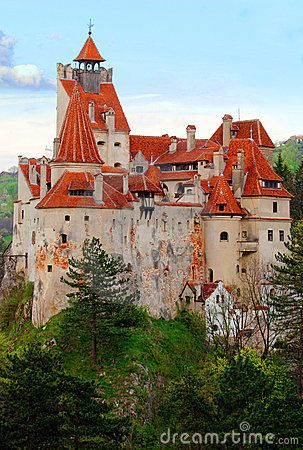 """Bran Castle, near Braşov, is a national monument and landmark in Romania.  The medieval fortress is on the border between Transylvania and Wallachia and is commonly known as """"Dracula's Castle."""" by Achilles"""