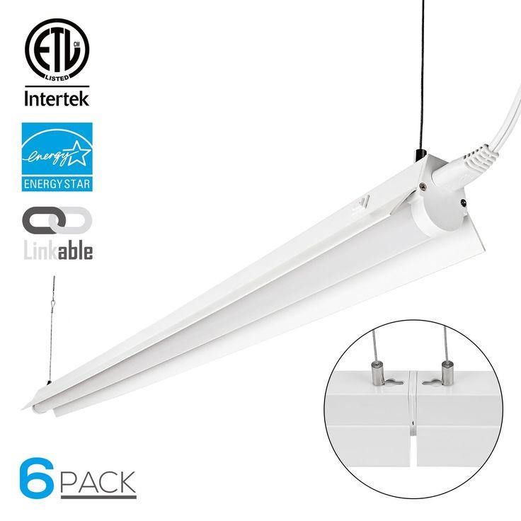 2 Pack/6 Pack 4ft 23W Linkable LED Utility Mini Shop Light, 2400 Lumens,4000K/5000K (6 - 5000k)