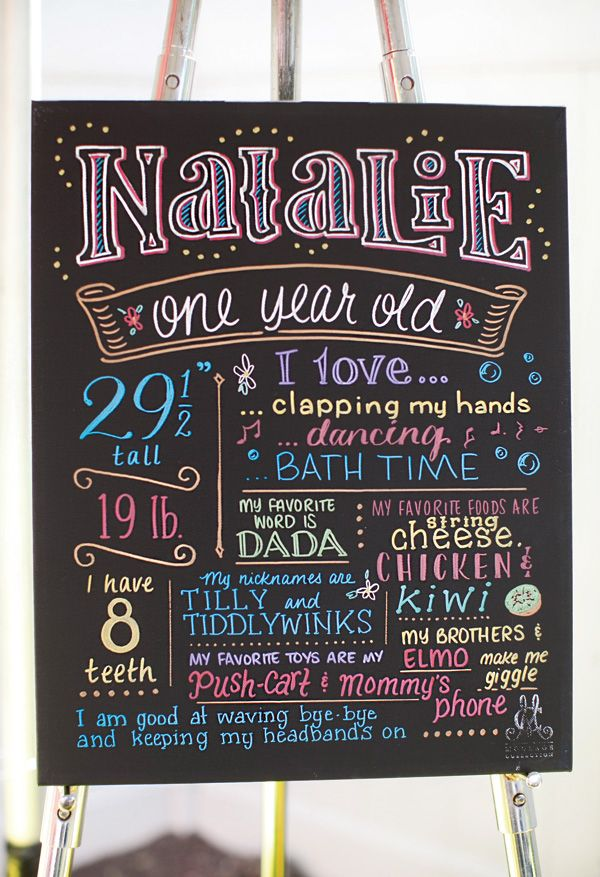 Beautifully written chalkboard first year sign