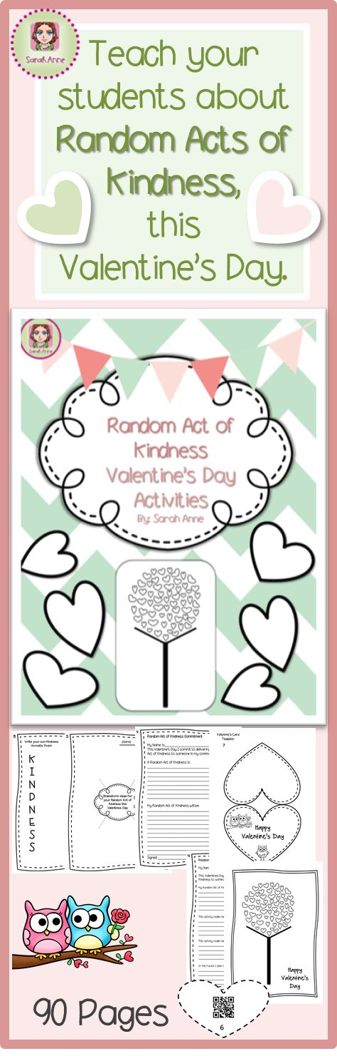 Spread LOVE and KINDNESS across your whole school community this Valentine's Day. Challenge your students (and staff) to commit to at least one Random Act of Kindness this Valentine's Day. Use this 90 page activity bundle to inspire, challenge and show how they can make a difference in your community... and decorate your classin the process. Bundle Includes: activites, video links #QR codes #Powerpoint Slideshow and more. Suits 6-60 year olds! #RandomActofKindness #RAK #ValentinesDay