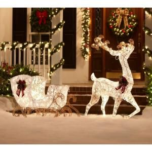 Home Accents Holiday 5 Ft Thin Pvc Lighted Reindeer With Sleigh Ty311 310 1411 At The Home