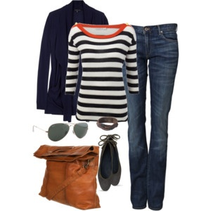 love the bag: Fall Clothing, Casual Outfit, Casual Friday, Fall Wardrobes, Navy Stripes, Stripes Shirts, Fall Outfit, Fall Fashion, Leather Bags