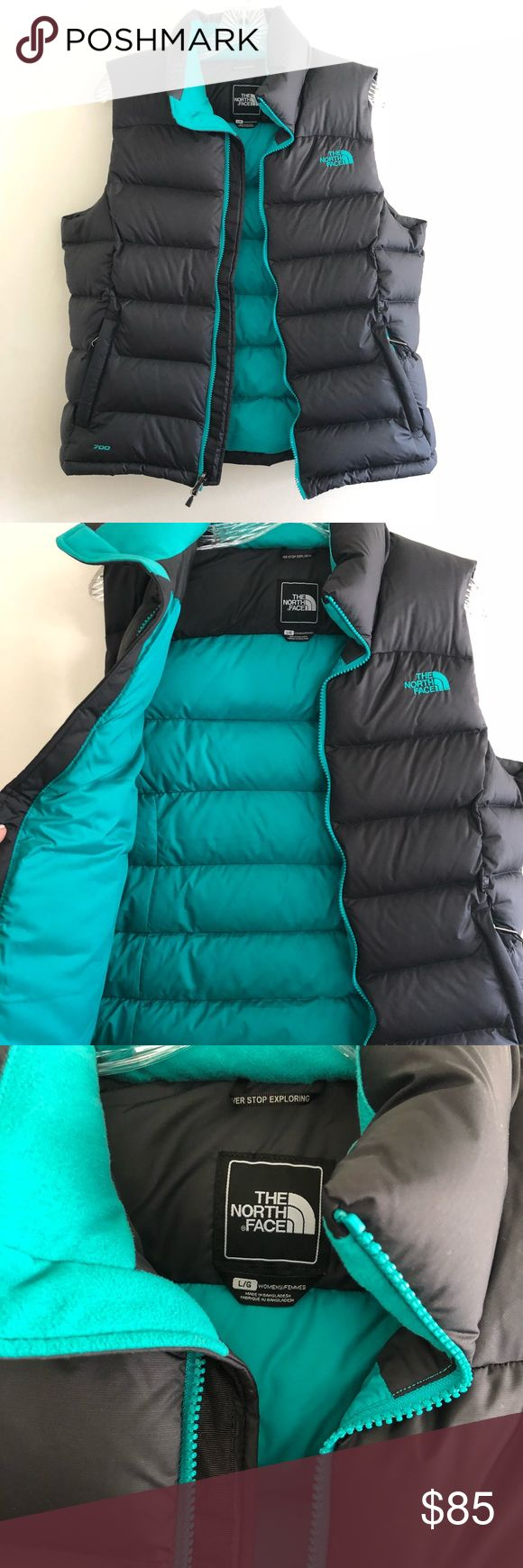 The North Face Nuptse Woman's Puffer Vest size L. The North Face Nuptse Woman's Puffer Vest in size Large. The outside is black with a teal greenish interior. Very soft and in excellent condition. The North Face Jackets & Coats Vests