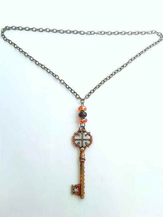 Key Necklace Bronze/Antique Key Wrapped in by ofRingAndScale