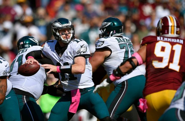 Eagles vs. Redskins:     October 16, 2016   -  27-20, Redskins  -     Philadelphia Eagles quarterback Carson Wentz throws to a receiver in the first half of an NFL football game against the Washington Redskins, Sunday, Oct. 16, 2016, in Landover, Md.