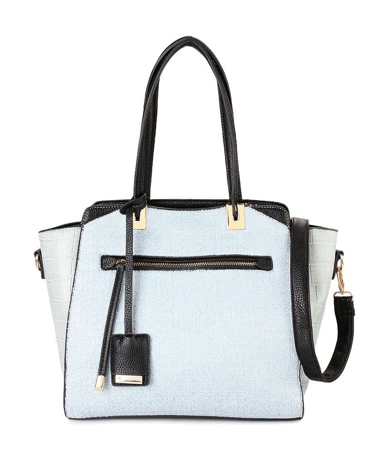 Riggy Tweed Tote Bag Blue by Huer. Multi color bag made from synthetic leather, with blue, black, inner pocket and back, zipper, handle drop up to 20 cm, adjustable strap 80 cm. Stylish bag for stylish you. http://zocko.it/LDlKD