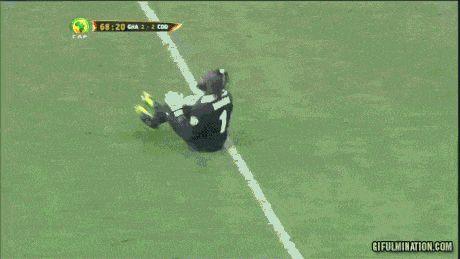 Soccer celebration level: Ghana Goalie.