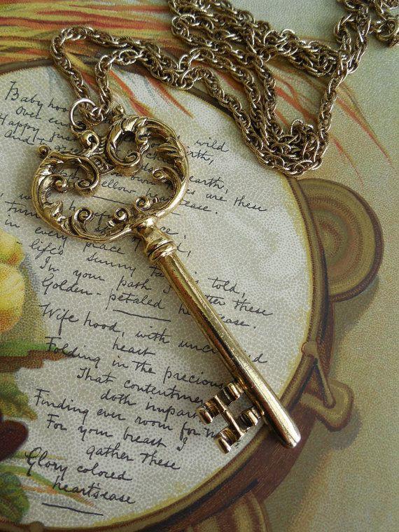 Vintage Gold Skeleton Key Pendant Necklace by CornermouseHouse, $10.00