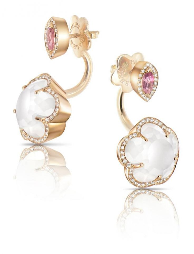 Pasquale Bruni Ring Earring Bon Ton collection in rose gold with milky quartz, mother of pearl, pink topaz and diamond 14930R - Casa Capone Jewelry