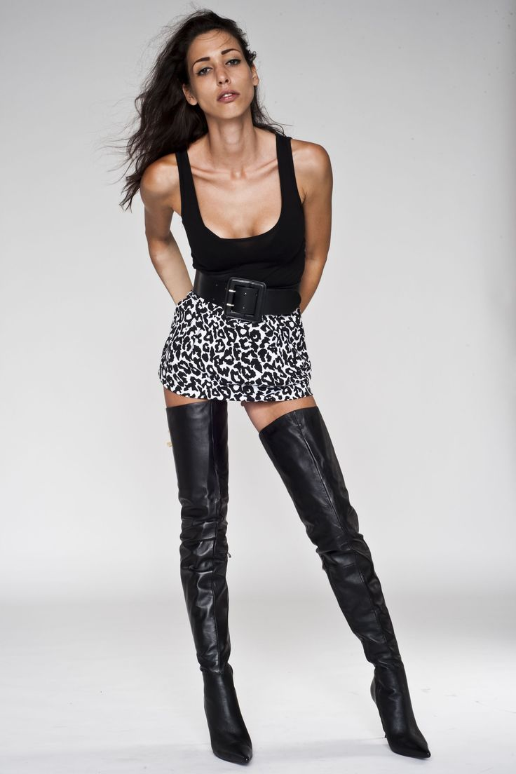 Sexy Katherine Wearing Leather Boots On Stock Photo