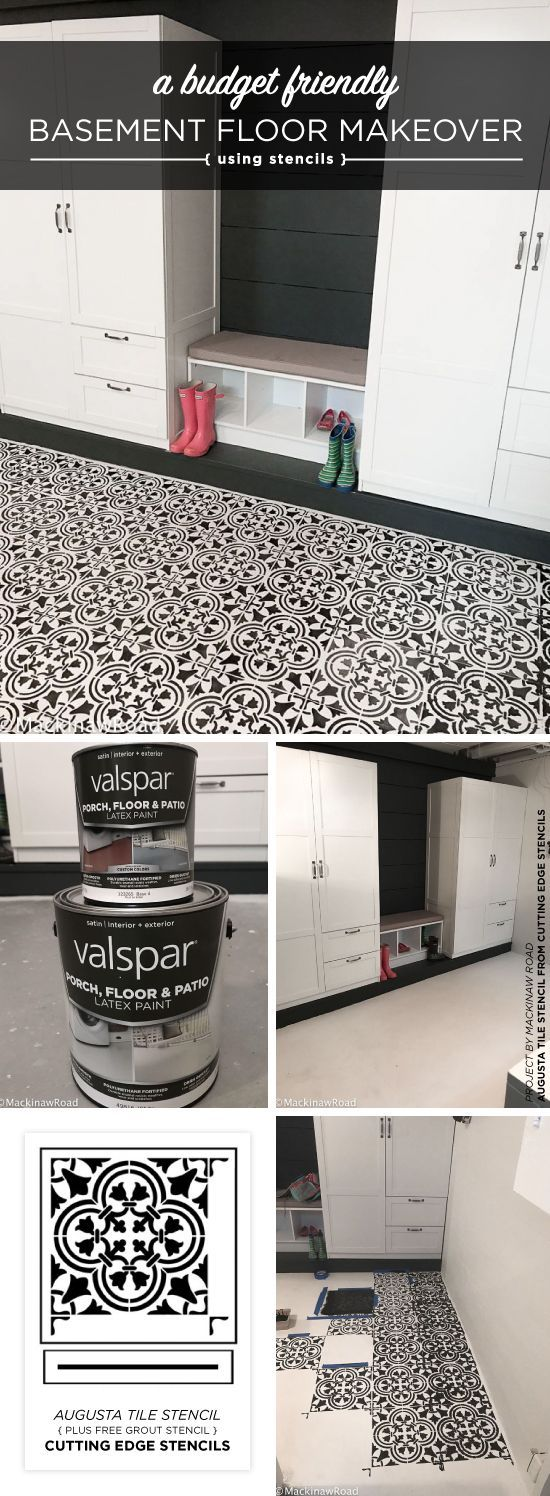 A Basement Floor Makeover Using A Tile Stencil