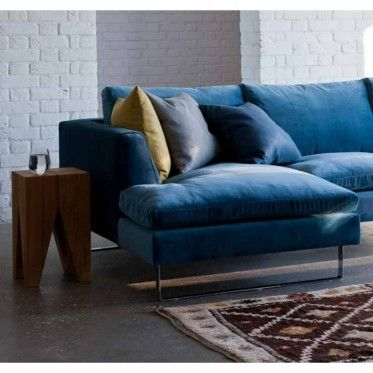 Jasper Modern Corner Sofa, Left Hand Facing velvet airforce