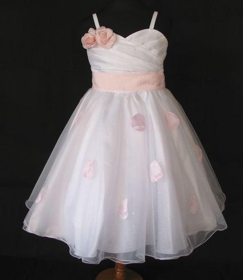 """Φορέματα για Παρανυφάκια - Επίσημα Φορέματα για Κορίτσια :: Μοναδικό Παιδικό Λευκό με Ροζ Φόρεμα για βάφτιση, Παρανυφάκι, """"Delphine"""" - http://www.memoirs.gr/"""