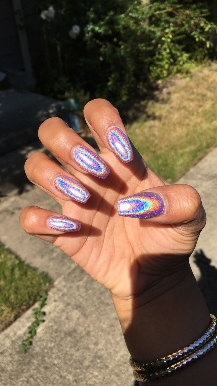 #nails #holographic #coffin
