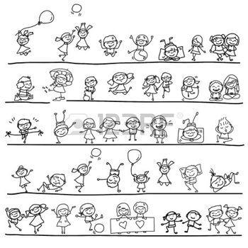 vermittlung: Handzeichnung Zeichentrickfigur glückliche Kinder spielen