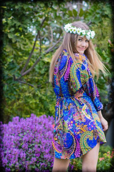 Dark Blue Hippie Love & Light Paisley Shirt