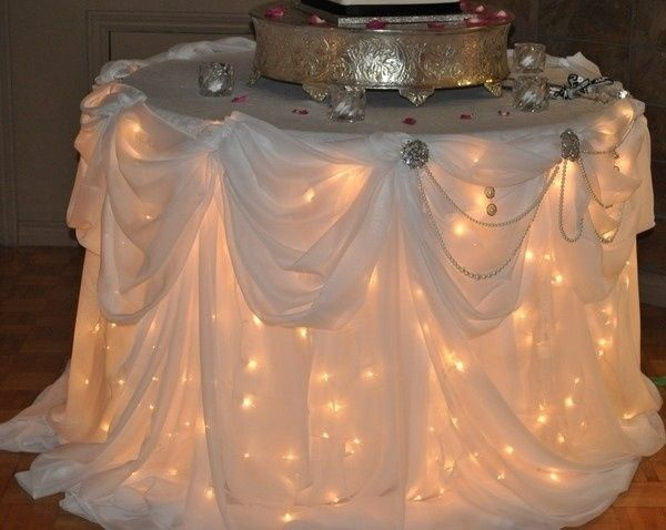 Hey Tammy....isn't this a pretty table?  It's just string of white Christmas lights under a cheap table!!