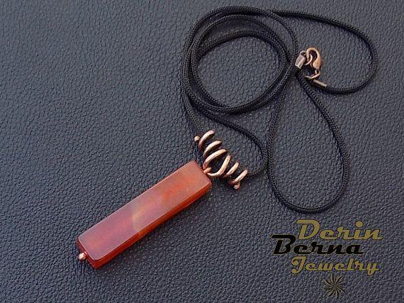 Agate pendant,wirewrapped copper square agate stone unisex jewelry,copper wire men pendant,Copper agate women pendant necklace,Women jewelry