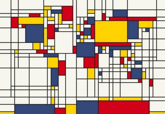 Abstract Mondrian Style World Map    Abstract Map of the World Canvas Art Print inspired by dutch painter Piet Mondrian