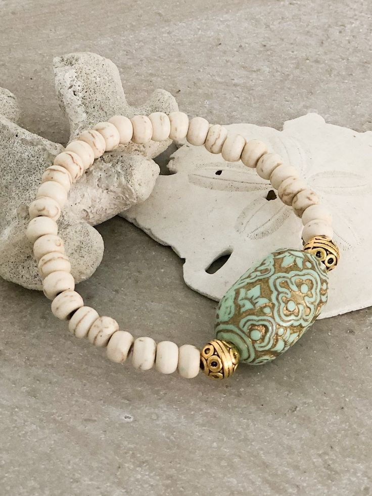Boho Gemstone Bracelet ~ Matte Riverstone Rondelles accented with Etched Vintage Focal Bead Sundance Style Handmade Stacking Bracelet