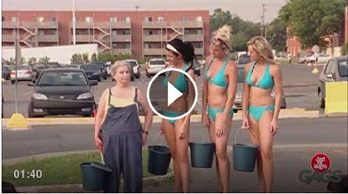 Candid Camera: vieni a pulire l'auto da queste bellissime ragazze...