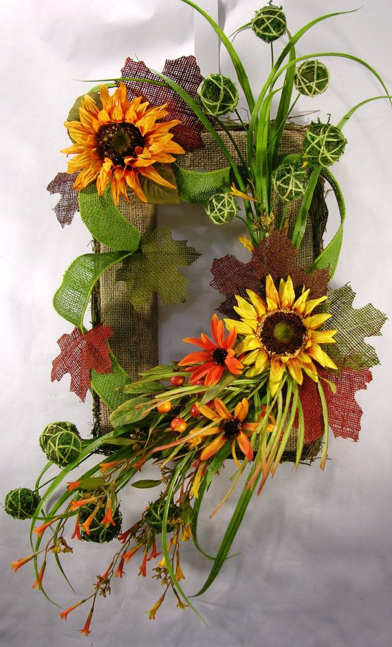 Burlap Rectangular Fall Wreath by MilandDilDesigns on Etsy, $85.00