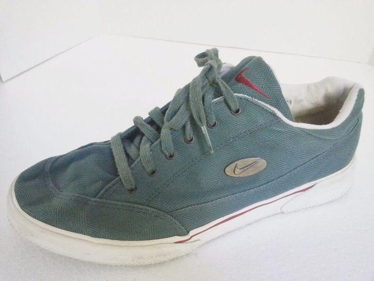 Vintage Nike sz 11 mens lace up green canvas shoe retro metal logo Rare classic #Nike #Walking