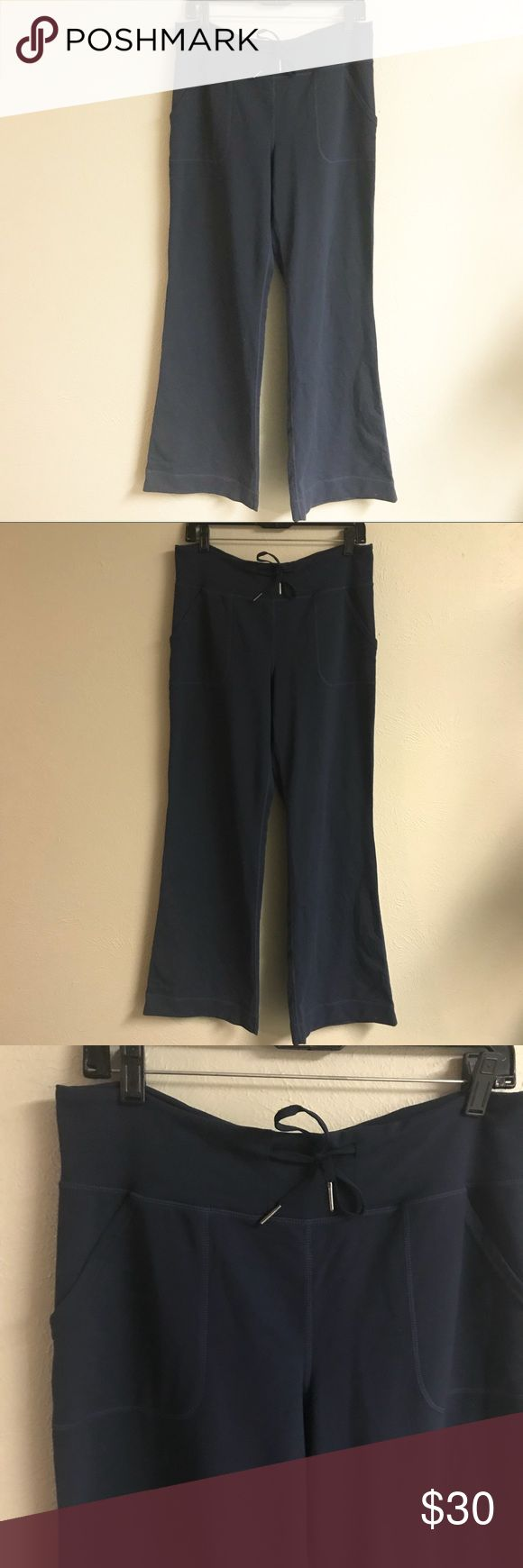 Lululemon Navy wide leg lounge pants Comfy pants!  Good used condition but some piling in between the legs.  Size 8!  Bundle for a discount lululemon athletica Pants
