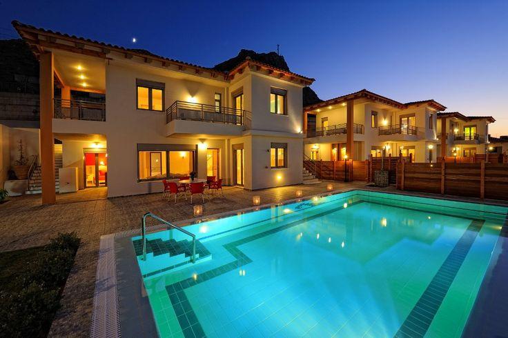 Night view of pool at Tressa villa in Heraklion, Crete