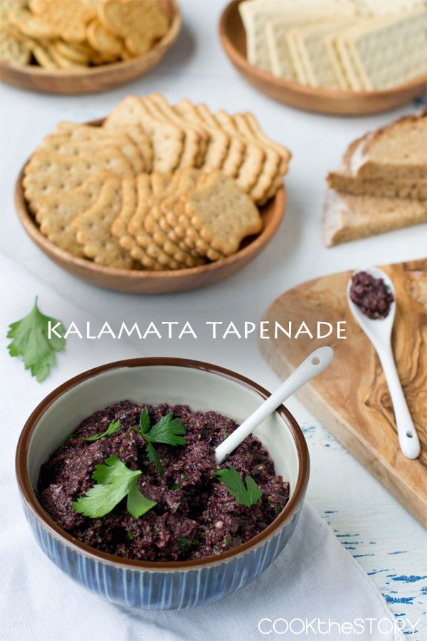 Kalamata Tapenade: 7 oz. jar of pitted kalamata olive, drained + 1-2 cloves of garlic + 2 Tbsp drained capers + 2 Tbsp evoo + 1 Tbsp lemon juice + ¼ cup parsley in a food processer until not quite pureed