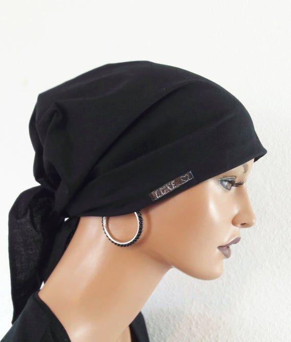 2 Bänder Kopfbedeckung bei Chemotherapie Chemomütze SET Beanie dunkelbl 3-tlg