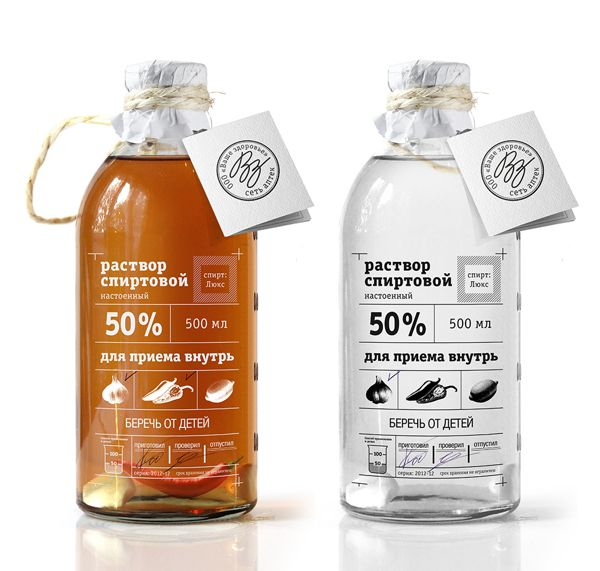 А solution of alcohol. Спиртовой раствор on Packaging Design Served