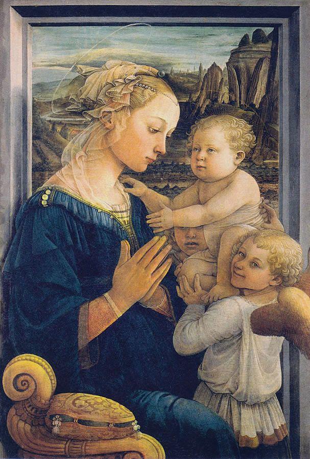 FRA FILIPPO LIPPI (1406-69) Madonna z dzieciątkiem, tempera na desce, 92x63 cm, 1455-57, Uffizi