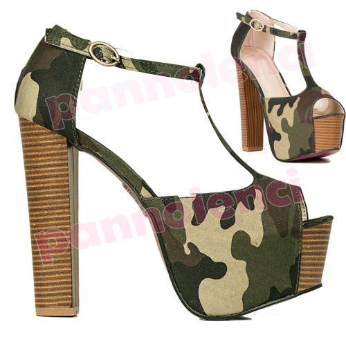 Scarpe donna decollete scamosciate tacchi alti T Bar plateau C9323-8   eBay