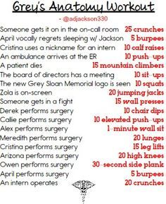 greys anatomy workout - Google Search