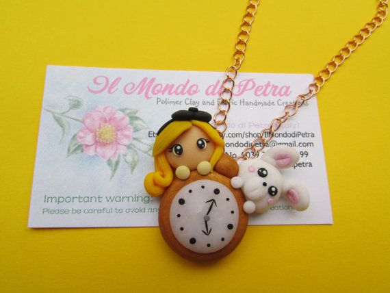 Alice in Wonderland  Polymer clay Necklace with by IlMondodiPetra, €19.00