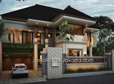 berikut adalah desain rumah megah double facade luas 570