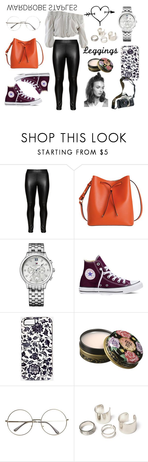 """cool&lazy"" by daniela-123 ❤ liked on Polyvore featuring Studio, Lodis, Tommy Hilfiger, Eos, Converse, Anna Sui, Leggings and WardrobeStaples"