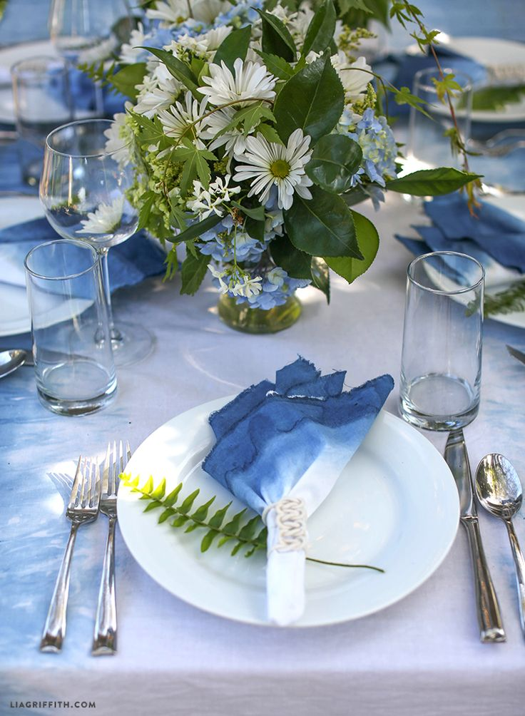 DIY Indigo Boho Table Linens | Wedding table linens, Blue ...