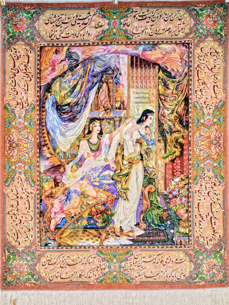 Joseph & Zuleika (يوسف و زليخا) Silk Persian Tableau Rug (Pictorial Carpet) You pay: $9,900.00 Retail Price: $19,900.00 You Save: 50% ($10,000.00) Item#: HA-1900 Category: Miniature Persian Tableau Rugs Artist: Maestro Farshchian Size: 100 x 120 (cm)      3' 3 x 3' 11 (ft) Origin: Persian, Tabriz Foundation: Silk Material: Wool & Silk Weave: 100% Hand Woven Age: Brand New KPSI: 900