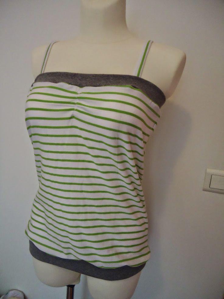 Bandeautop             von   mamahoch2   (leicht abgewandelt)     Wir brauchen:   Jersey ca 90 cm x 40 cm   Bündchenstoff (Schlauchware,...