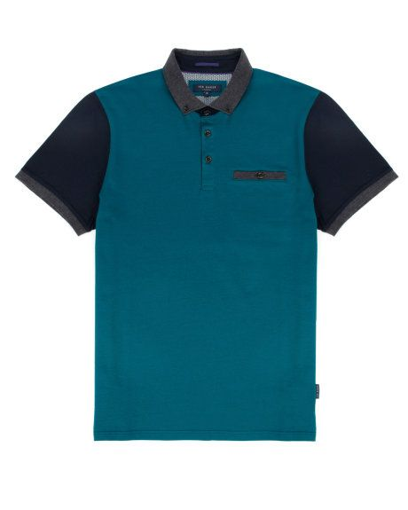 Block color polo - Teal | Tops & T-Shirts | Ted Baker