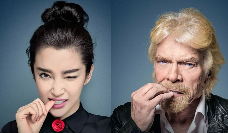 Resident Evil actress Li Bingbing and Richard Branson bite their nails for a campaign against hunting endangered rhinos for their horns. Jing Boran, Chun Kun.