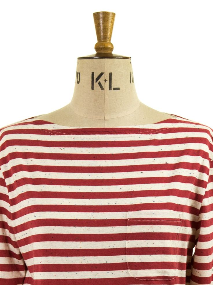Oliver Spencer Boatneck Tee Faded Red/Oatmeal subtle flecked striped tee